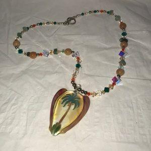 Handmade Artisan Lampwork Necklace Palm Tree new